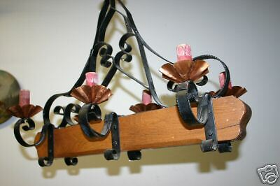 A  French wooden/wrought-iron 6 light castle chandelier 3