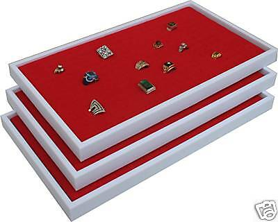 3 RED RING JEWELRY DISPLAY CASE ORGNIZER INSERT NEW