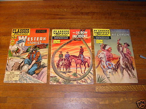 CLASSICS ILLUSTRATED: #62, #112 #125 kit carson, ox-bow