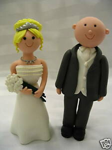 bald groom and bride wedding cake topper handmade amp bald groom wedding cake topper 11050
